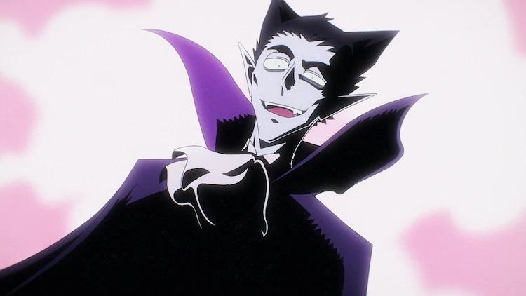 Dralc el vampiro intenta una sonrisa siniestra en una escena de la próxima El vampiro muere en poco tiempo.  Anime de TV.