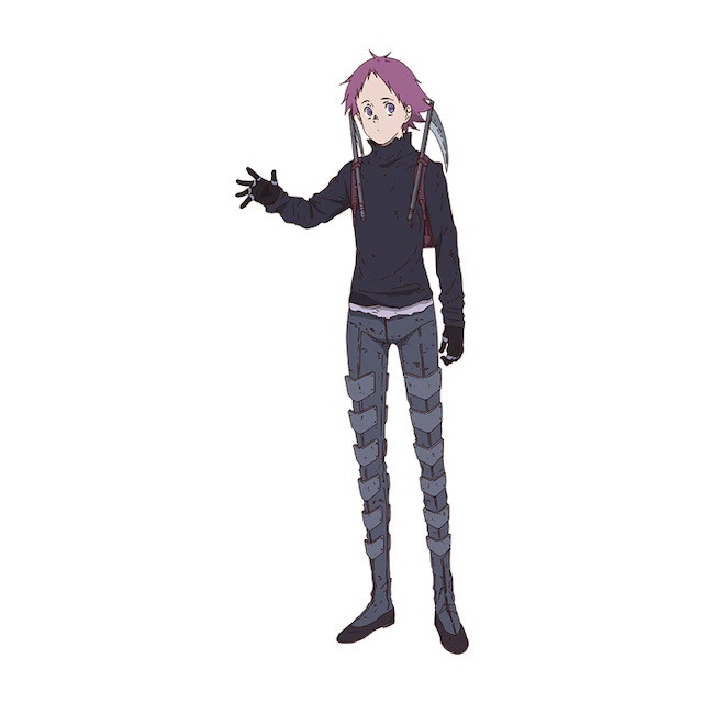 Ebisu, a purple-haired Sorceress clad in greeves and a pair of tiny scythes sheathed at her shoulders in the Dorohedoro TV anime.