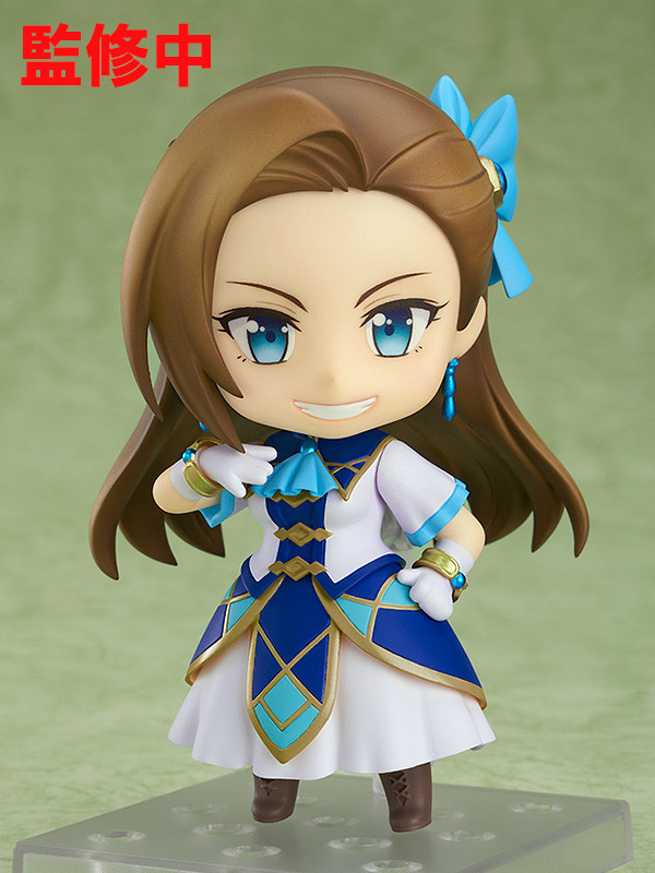 A promotional image of the Nendoroid Catarina Claes toy from Good Smile Company, emphasizing the smirking face of the heroine of My Next Life as a Villainess: All Routes Lead to Doom!.