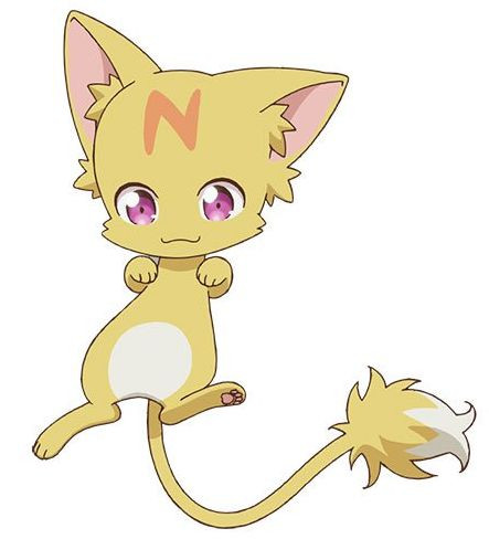 """Nano-chan, the embodiment of """"nanomachine"""" magic in the Didn't I Say to Make My Abilities Average in the Next Life?! TV anime, is a furry, cat-like creature with an 'N' on its forehead."""