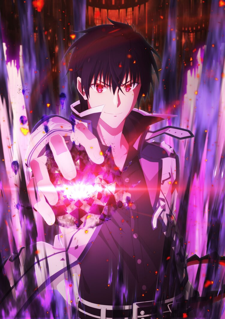 Una imagen teaser para la próxima segunda temporada del anime de televisión The Misfit of Demon King Academy, con el personaje principal, Anos Voidigoad, invocando magia oscura y poderosa en su mano extendida mientras una sonrisa maliciosa cruza sus labios y sus ojos rojos brillan.