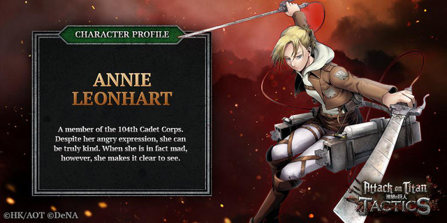 Annie Leonhart, 5-Star hero unit and my squad leader in the Attack on Titan: TACTICS social game.