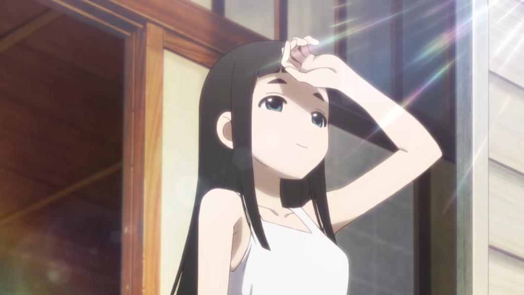 Hime Goto shades her eyes and smiles wistfully in the morning light in a scene from the upcoming Kakushigoto theatrical anime film.