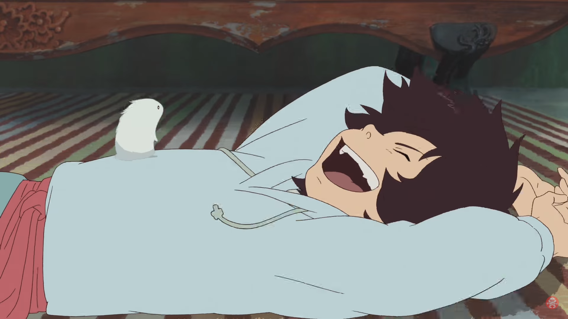 Kyuuta laughs as Chiko looks on in The Boy and the Beast