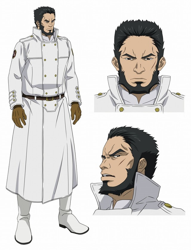 Edgar, an Incarnate Soldier, is a man with a powerful build, a chinstrap beard, and a fierce and disdainful expression on his face.