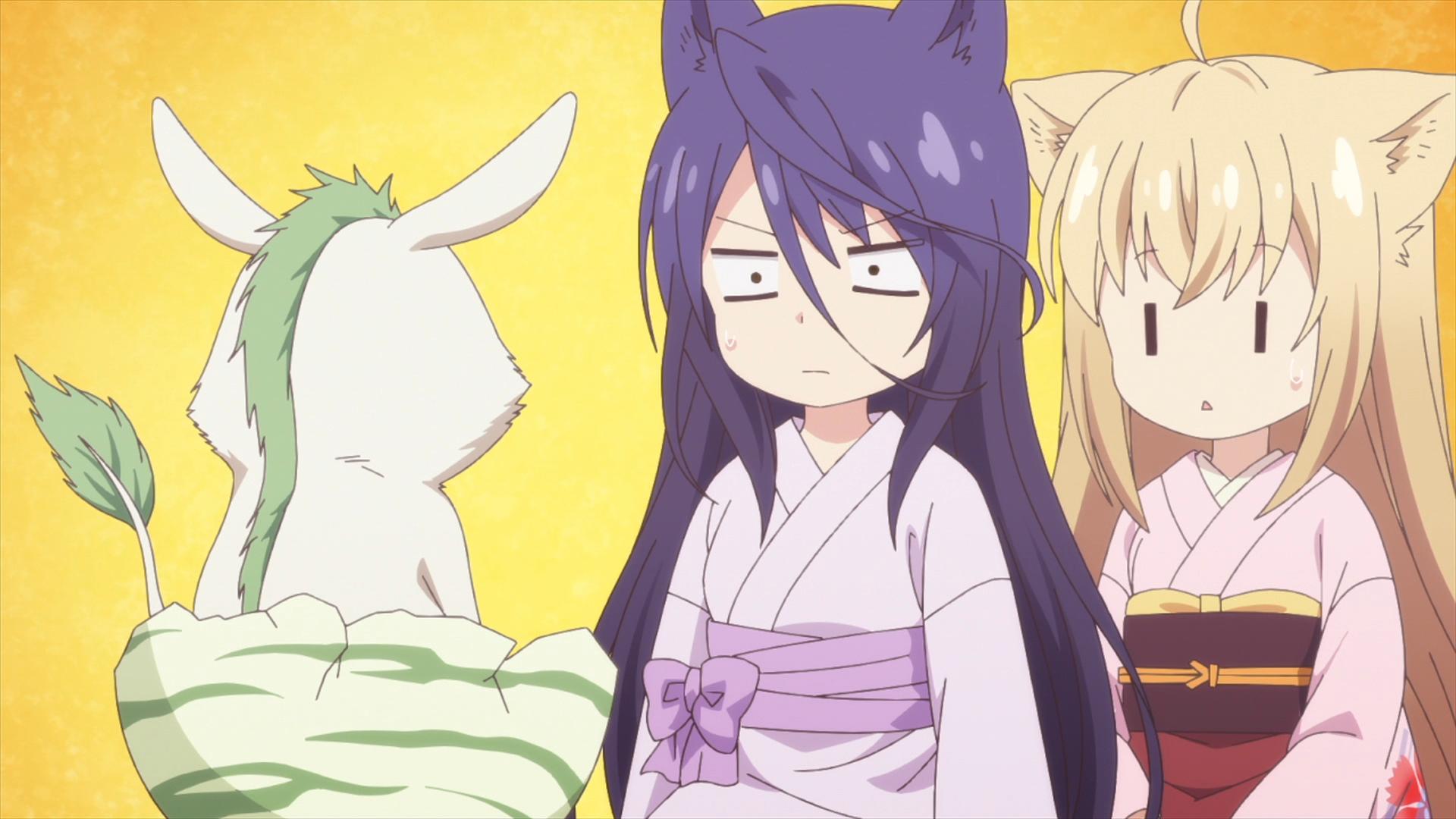 Satsuki y Yuzu se quedan estupefactos cuando Urinosuke, un espíritu infantil devorador de pesadillas conocido como baku, nace de un huevo en una escena del anime de televisión KONOHANA KITAN.