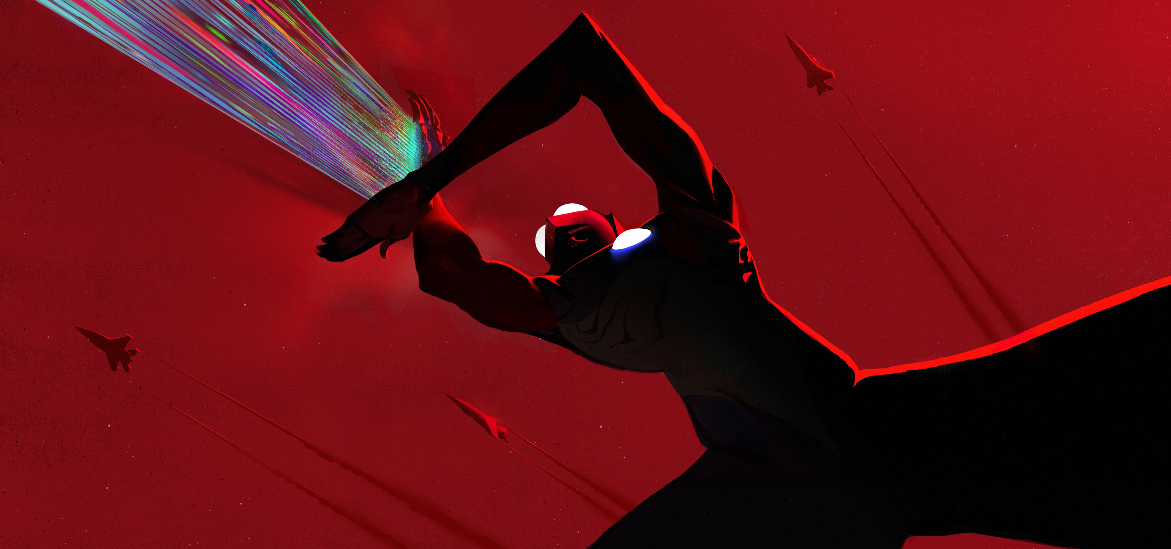 A promotional image for the upcoming Netflix 3DCG Ultraman film, featuring Ultraman performing his Ultra Beam attack against the backdrop of a red sky with fighter jets soaring through it.