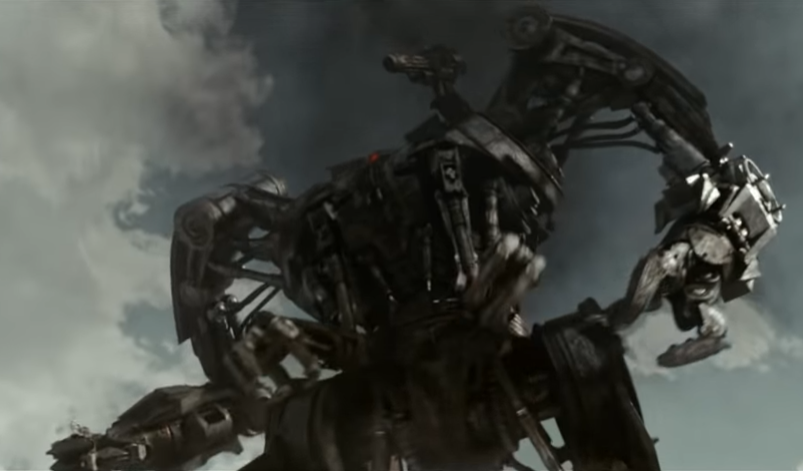A Hunter-Killer robot looms menacingly in a scene from the trailer for the 2009 Terminator Salvation theatrical film.