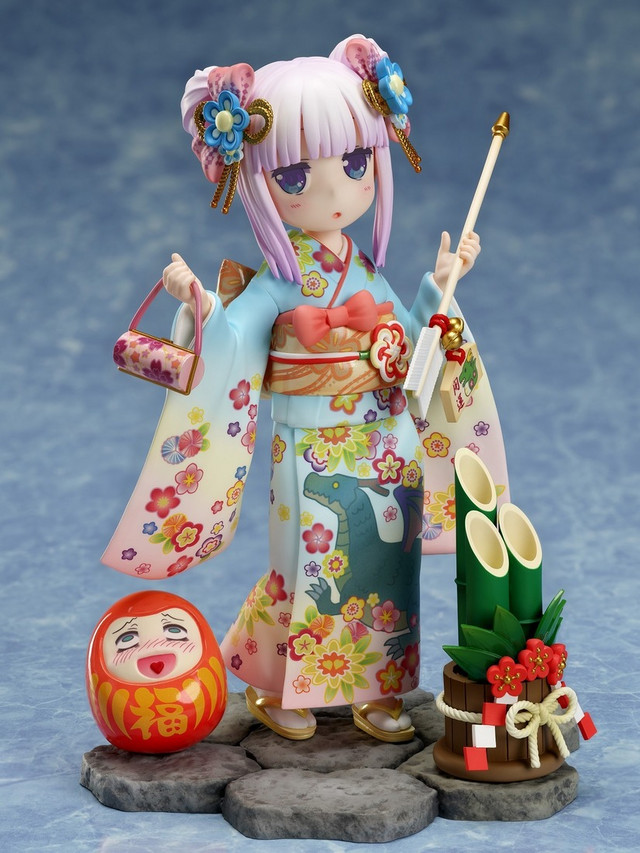 A promotional image for the Miss Kobayashi's Dragon Maid Kanna - Fine Clothes - 1/7 Scale Figure by FuRyu, emphasizing the swappable accessories, such as a ceremonial arrow.
