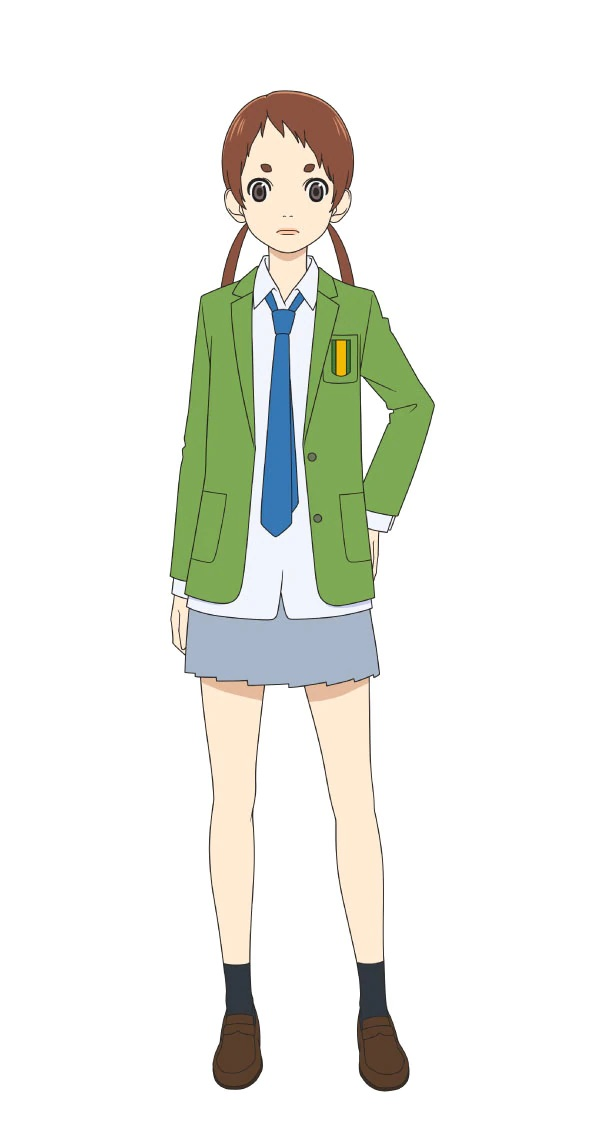 A character visual of Midori Soshizaki, a member of the girl's soccer club with twin-tails and plucked eyebrows from the upcoming Farewell, My Dear Cramer TV anime.