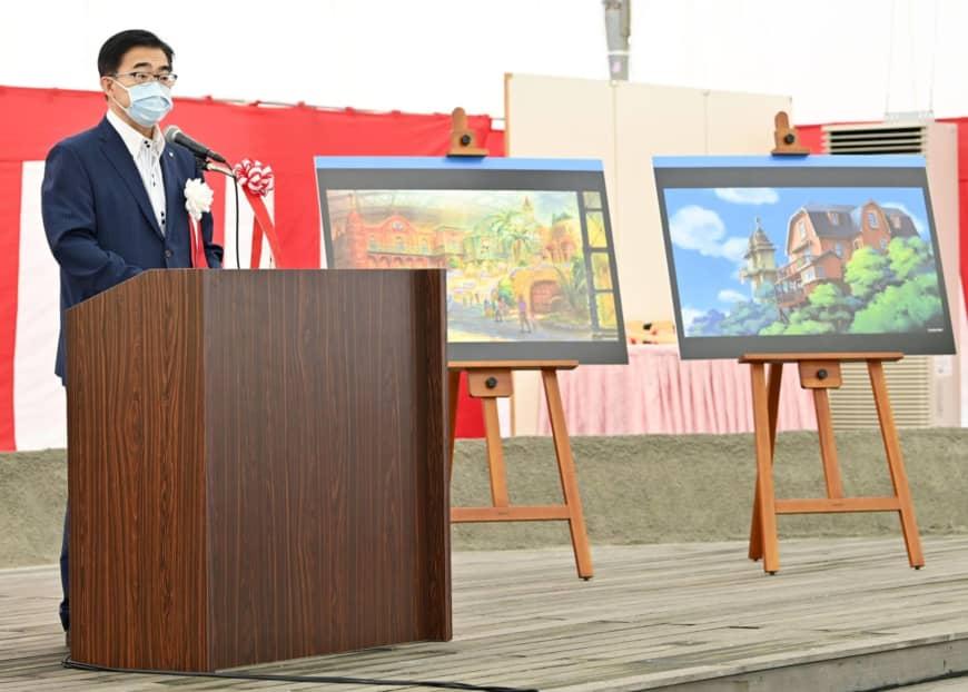 Aichi governor Hideaki Omura at the groundbreaking ceremony