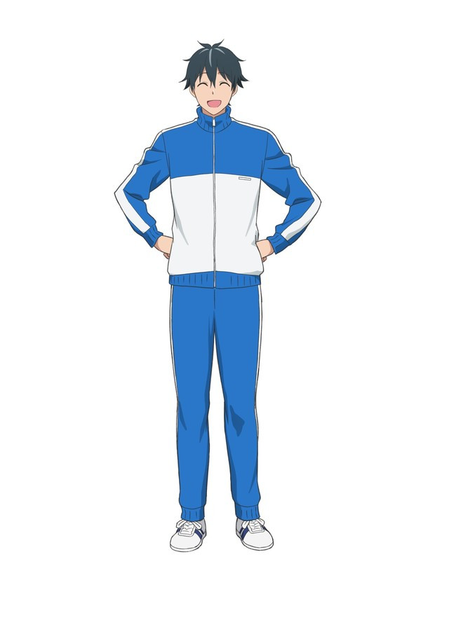 Naruzuo Machio, a smiling trainer in a blue and white track suit.