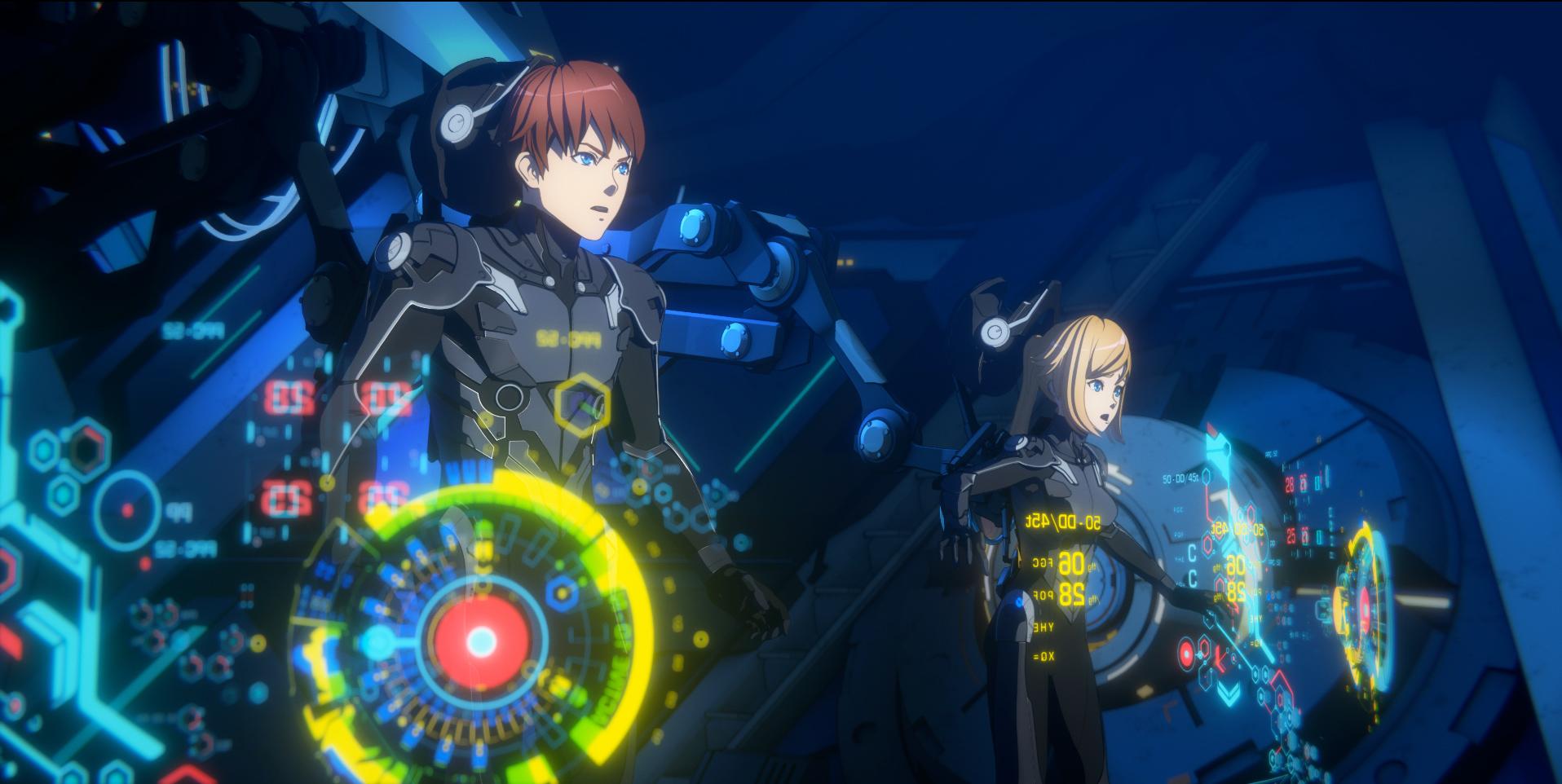 """Taylor y Hayley, un par de pilotos mecha hermano-hermana, se visten y activan el """"Deriva"""" para pilotar un Jaeger en una escena del próximo anime original de Pacific Rim: The Black Netflix."""