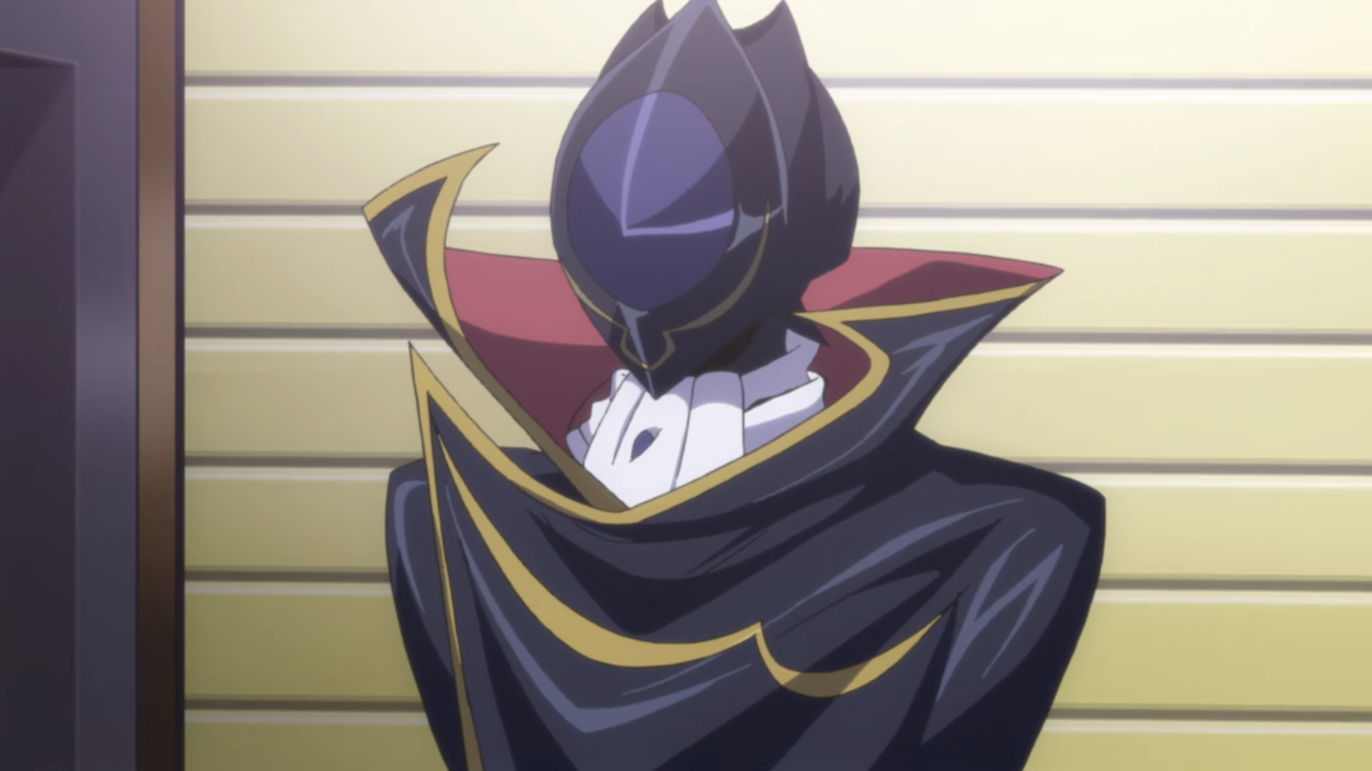 Lelouch from Code Geass, in his Zero alter ego