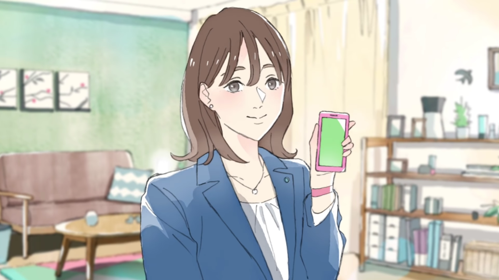 Akari Kito provides the voice for a young professional woman living on her own in a scene from the animated TV CMs for the Uchikomi smart phone app.