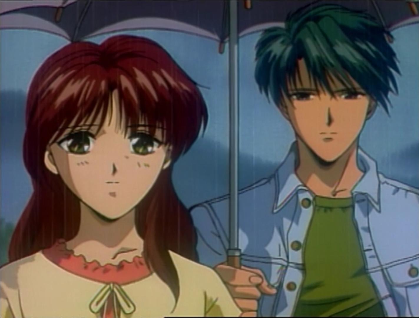 Miaka y Tamahome comparten un paraguas durante un día lluvioso en la Tierra en una escena de la serie Fushigi Yugi OAV.