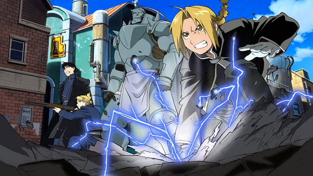 Edward Elric with Alphonse, Hawkeye, and Mustang in Fullmetal Alchemist