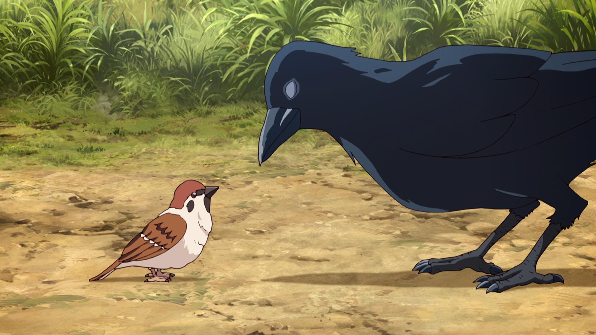 Chuntarou the Sparrow conversa con un Messenger Crow en una escena del anime de televisión Demon Slayer: Kimetsu no Yaiba.