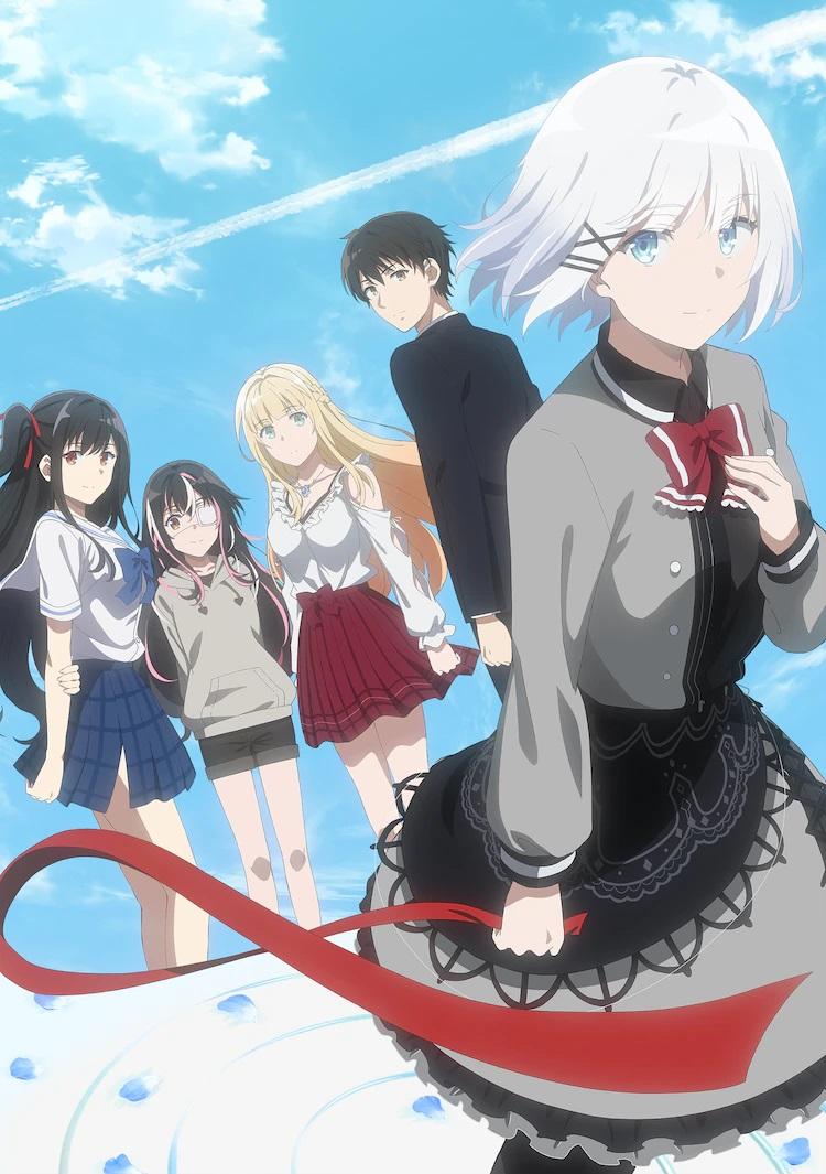 Una nueva imagen clave para el próximo anime de televisión The Detective is Already Dead, con los personajes principales posando frente a un cielo azul marcado por nubes distantes y la estela de un avión.