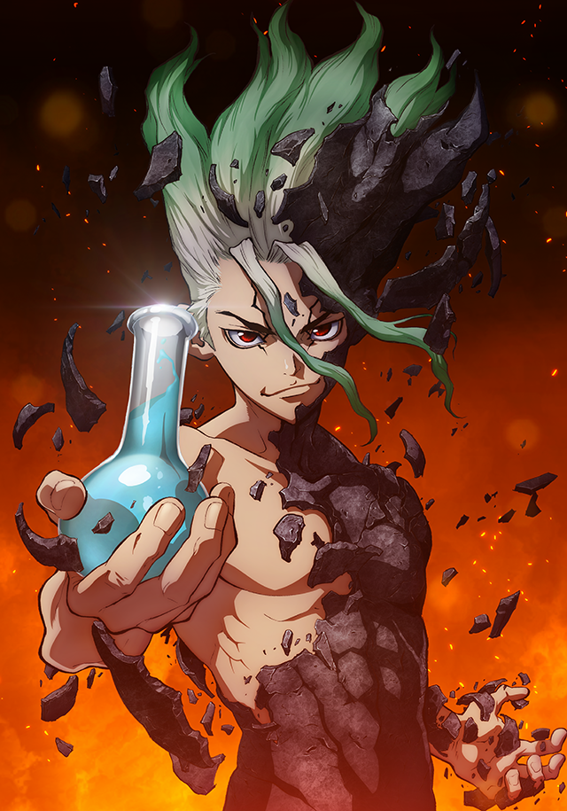 Dr. Stone, In this key art, Senku, the protagonist of the series, grasps a flask of blue liquid