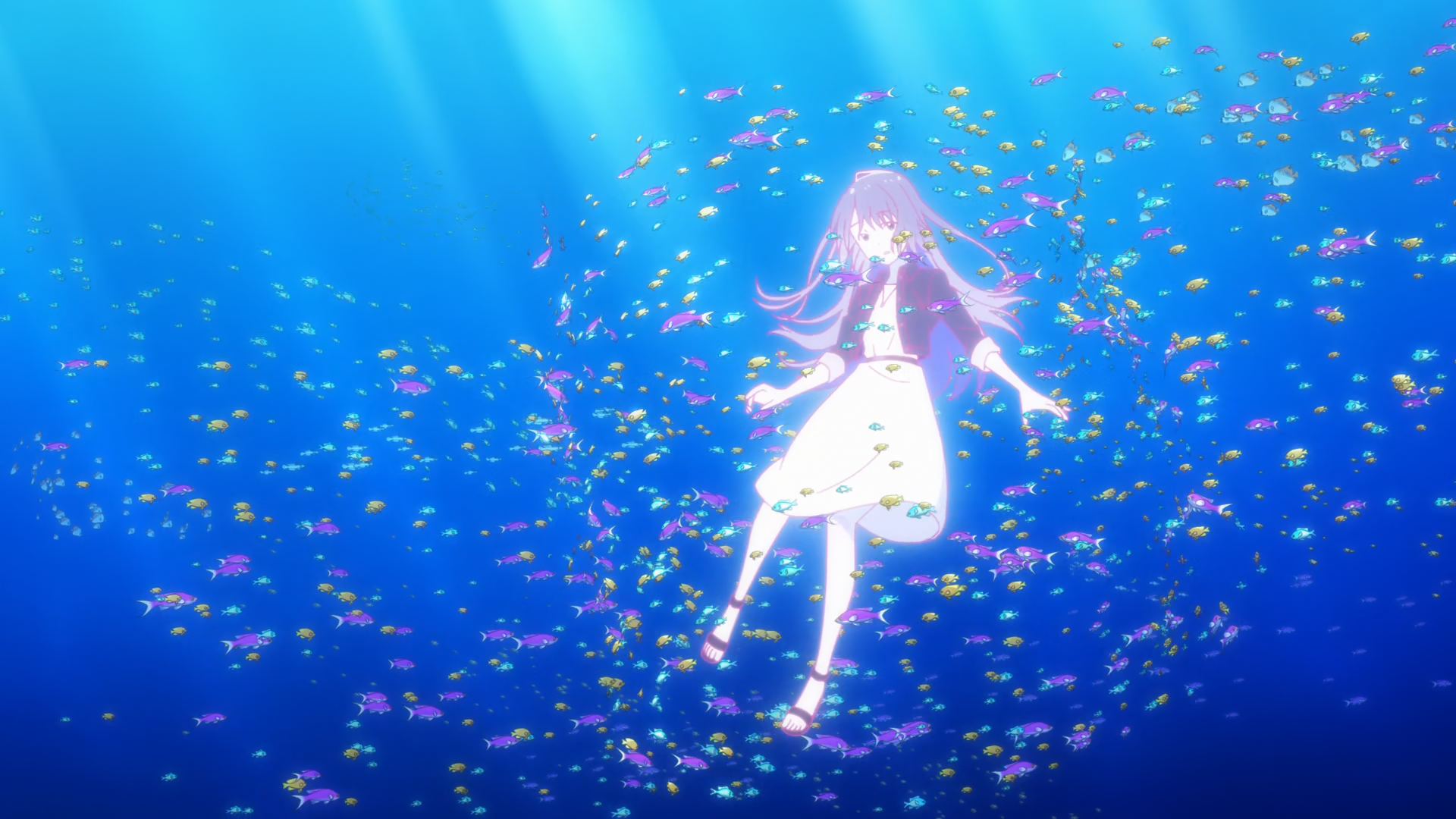 Protagonist Fuuka surrounded by fish, from The Aquatope on White Sand