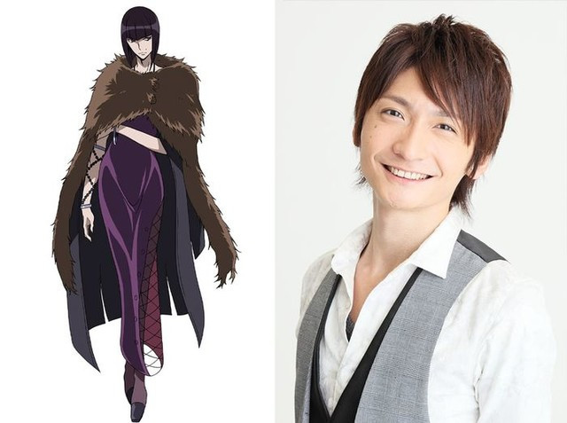 A character visual of Black Pearl, a genderfluid information broker and master of disguise, and their voice actor, Nobunaga Shimazaki.