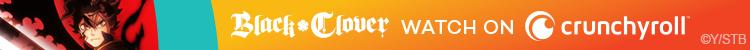 Asta de Black Clover posa con su enorme espada para un banner publicitario de Crunchyroll.