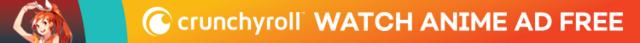 Hime posa para un banner publicitario de Crunchyroll.