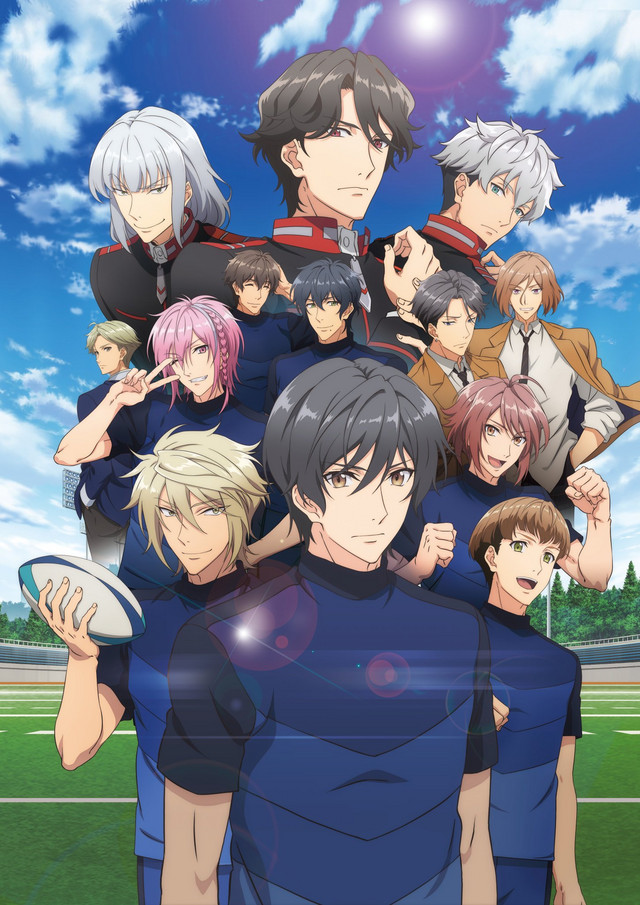 A key visual featuring the main cast of Try Knights in their rugby uniforms.