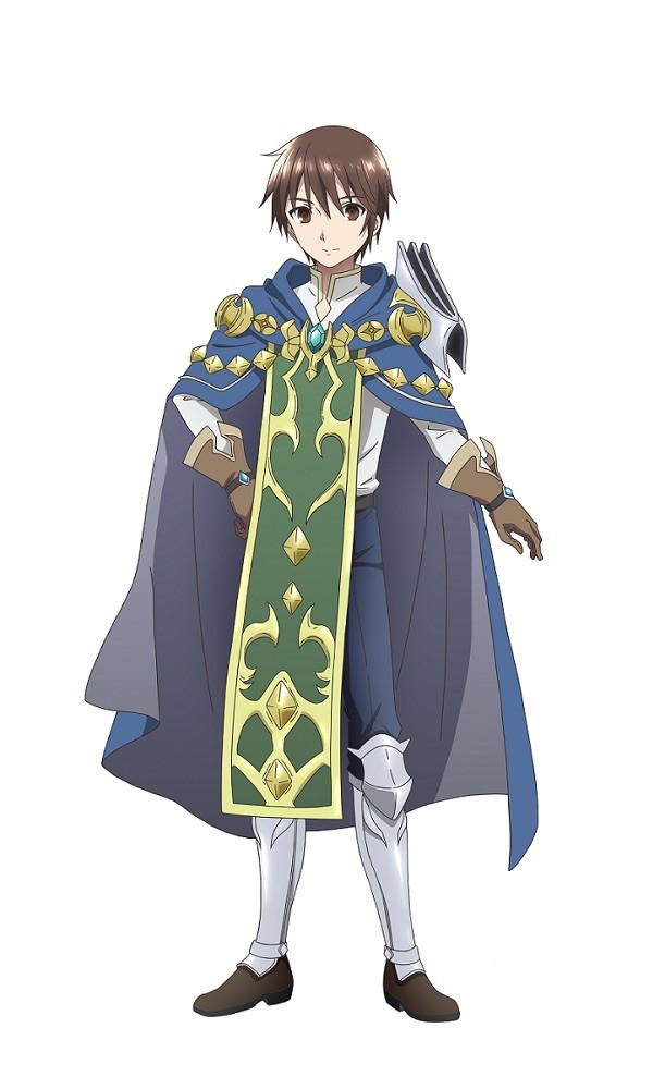 Wendelin, the protagonist of Hachinan-tte, Sore wa Nai Deshou!, is dressed in a royal blue cloak, a green and gold tabard, and shining steel greeves.