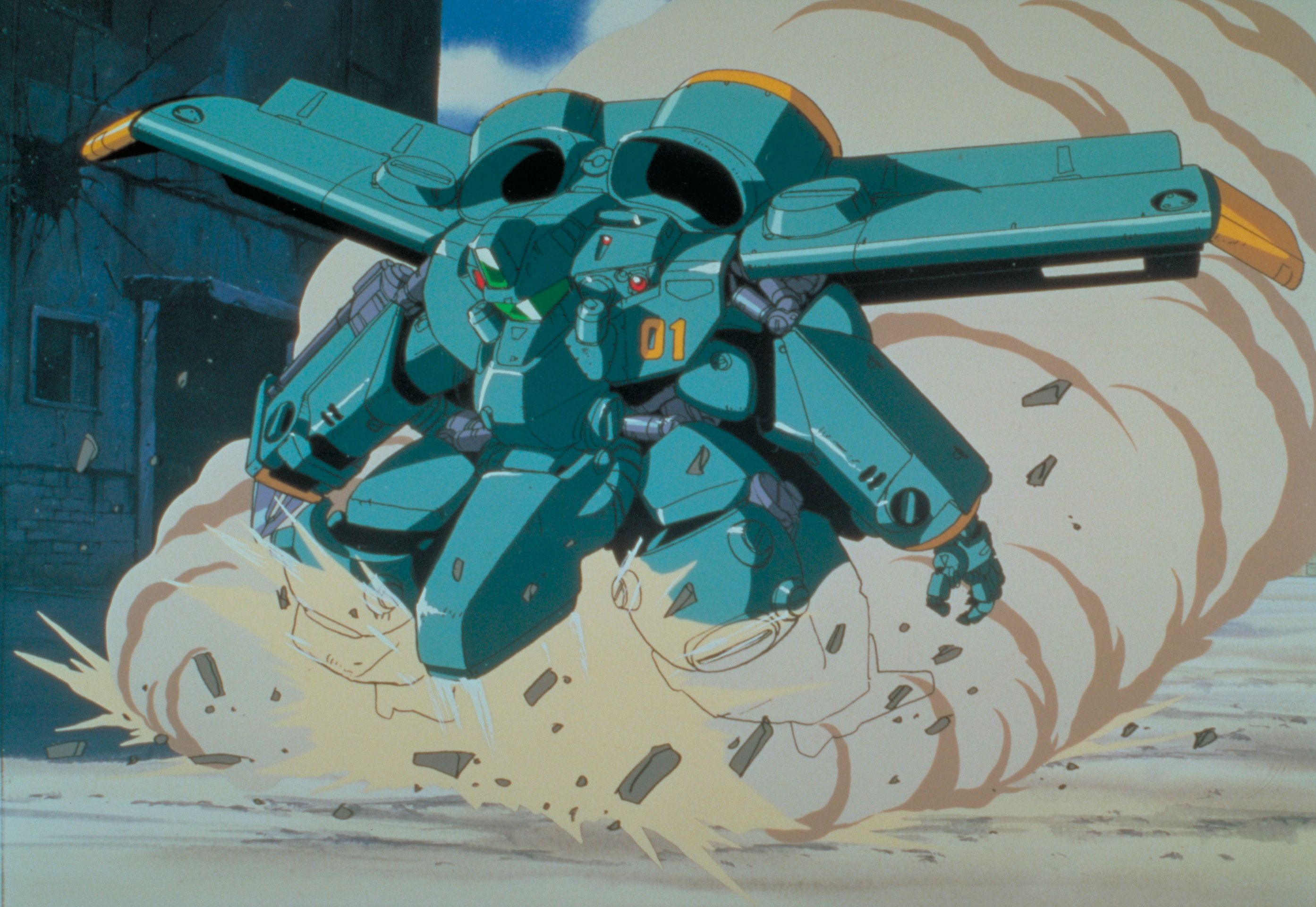 The MADOX-01 experimental powered armor suit launches into a hover mode, kicking up a huge cloud of dust amidst a ruined cityscape, in a scene from the 1987 Metal Skin Panic MADOX-01 original animation video.