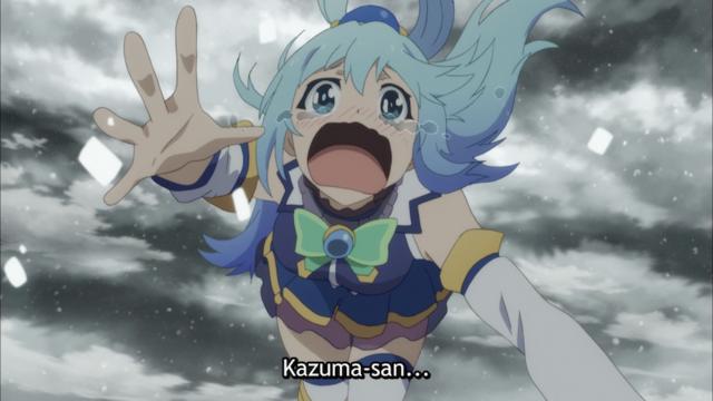 Aqua cries for Kazuma