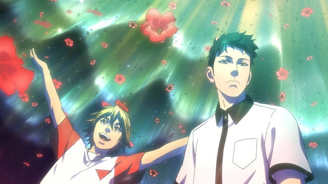 Hiroki and Tsukasa explore a mental landscape in which flower petals rain from an aurora-filled sky in a scene from the upcoming pet TV anime.