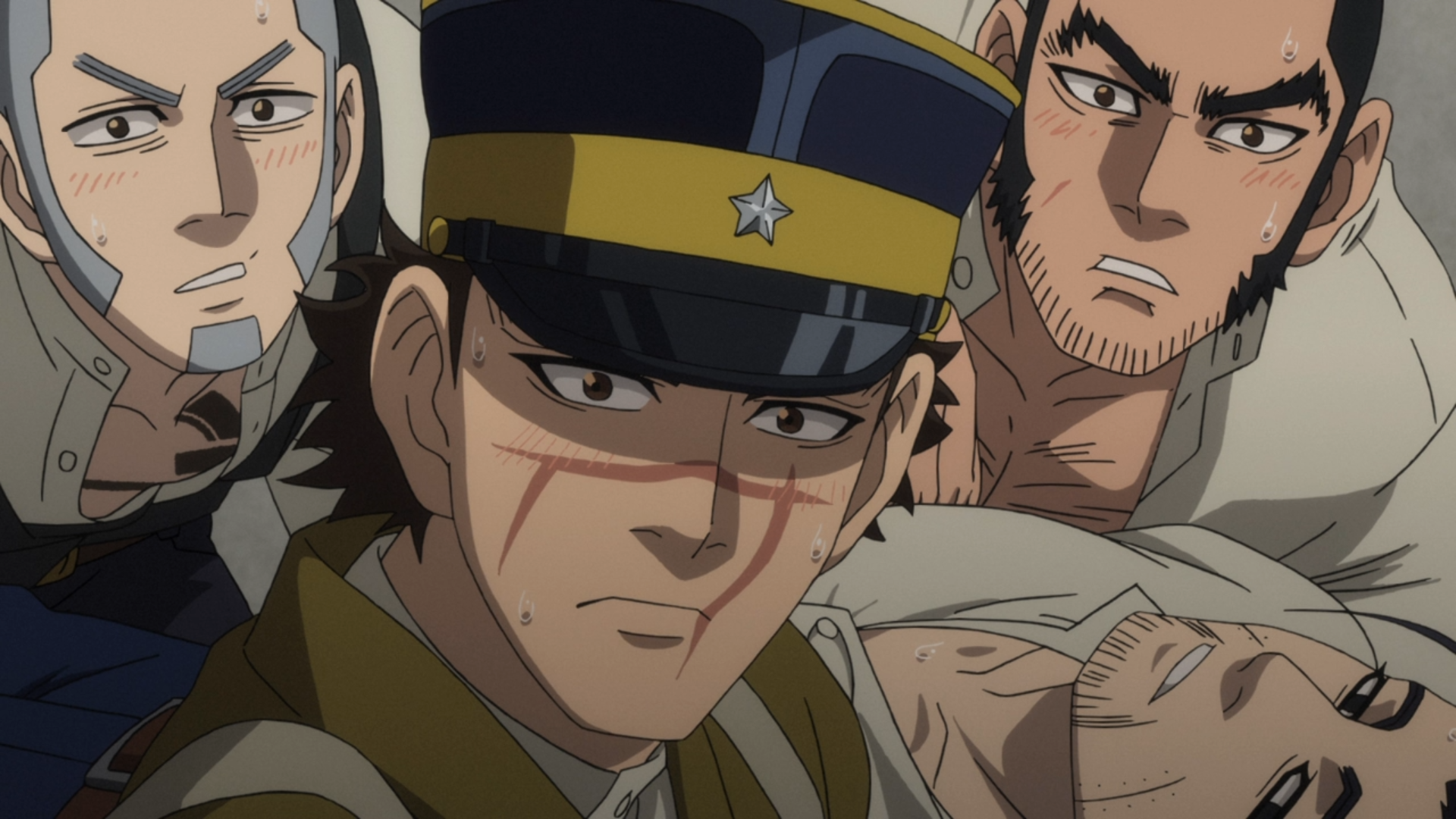 Shiraishi, Sugimoto, Tanigaki, and Ogata are all hot and bothered after consuming a meal of otter stew in a scene from Episode 20 of the Golden Kamuy TV anime.
