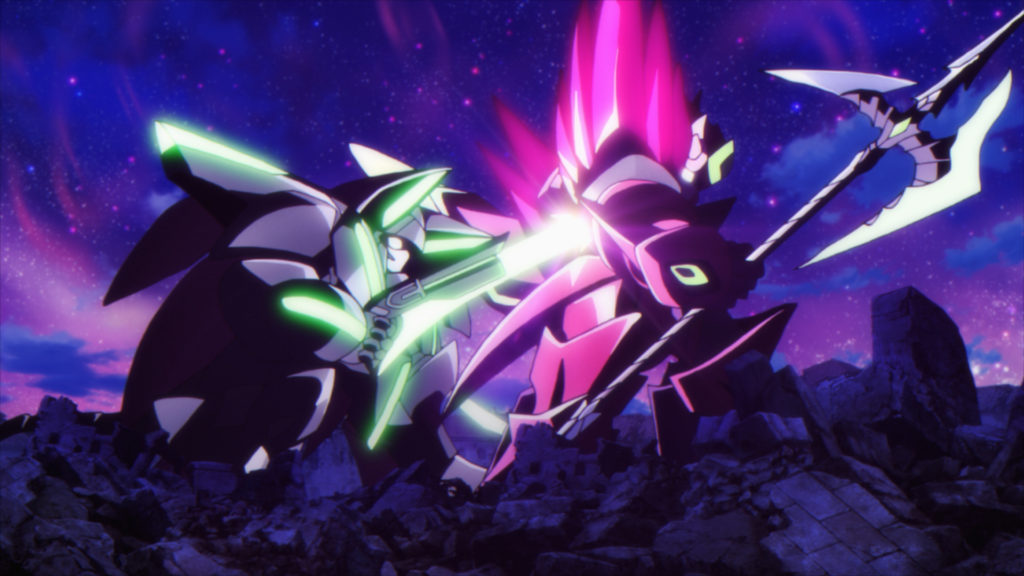The VIOLA KATZE Armanox mecha stabs the ACONITE GRIS Armanox mecha in the shoulder with a magical gun-blade in a scene from the 2019 GRANBELM TV anime.