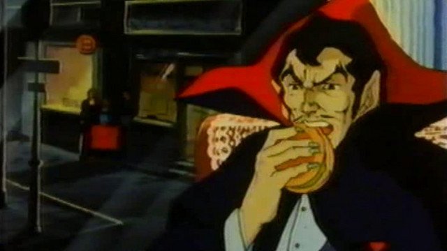 Dracula, Lord of the Night, chows down on a burger in the 1980 Dracula: Sovereign of the Damned TV anime film.
