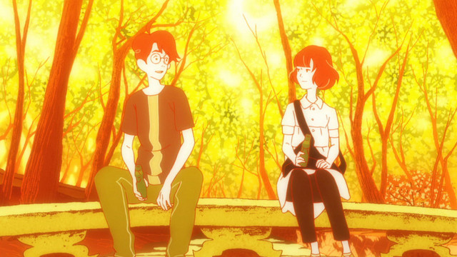 Watashi and Akashi share a moment over bottles of ramune in a scene from The Tatami Galaxy TV anime.