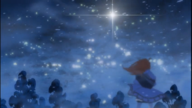 Nono stands in the middle of a snowstorm, following the footsteps of her idol Nono-ri.