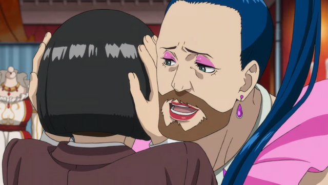 Mrs. Hudson gets up close and personal with one of her patrons at the Pipe-Cat Bar in the Kabukicho Sherlock TV anime.