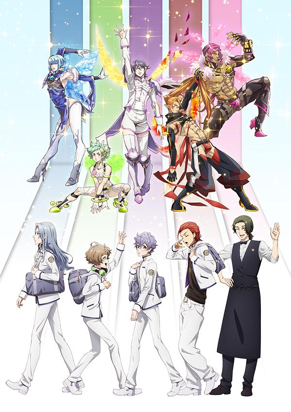 Una imagen clave para el próximo anime de televisión Fairy Ranmaru ~ Anata no Kokoro Otasuke Shimasu ~, con los cinco personajes principales y sus fabulosas transformaciones de hadas.