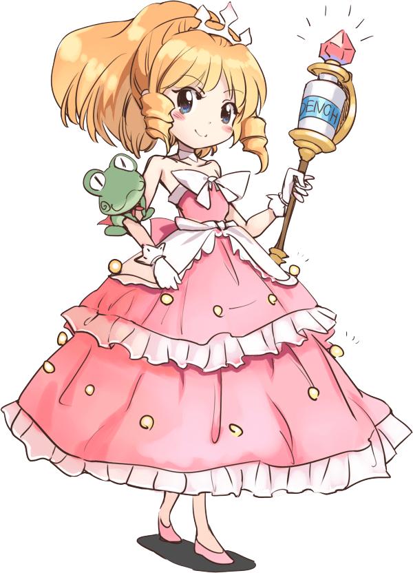Un escenario de personajes de Clorissa de Windup-Spring, la heroína del próximo proyecto de anime 2D original de NINJAXIS.  Clorissa es una joven de ojos azules y cabello rubio recogido en una cola de caballo y rizos de princesa.  Lleva un vestido de princesa rosa con volantes y una corona y lleva un cetro en su mano izquierda, y su retenedor de rana ninja se monta en su brazo derecho.