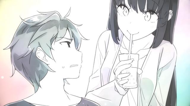 Sakuta Azusagawa and Mai Sakurajima exchange glances in a scene from the preview video for the 10th volume of the Seishun Buta Yaro light novel series.
