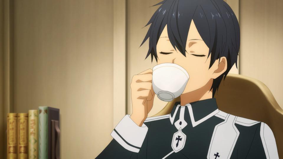 Kirito sips tea in a scene from Episode 9 of the Sword Art Online Alicization TV anime.