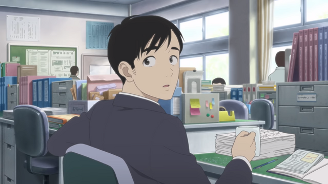 Sawa, a nondescript teacher at a boys high school, encounters some teacher's office gossip in a scene from the upcoming Happy-Go-Lucky Days theatrical anime film.
