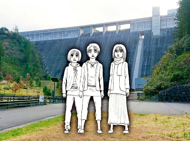 Conceptual artwork created by manga author Hajime Isayama for the bronze statues of young Armin, Eren, and Mikasa that will be installed observing Oyama Dam in Hita City, Oita Prefecture, Japan.