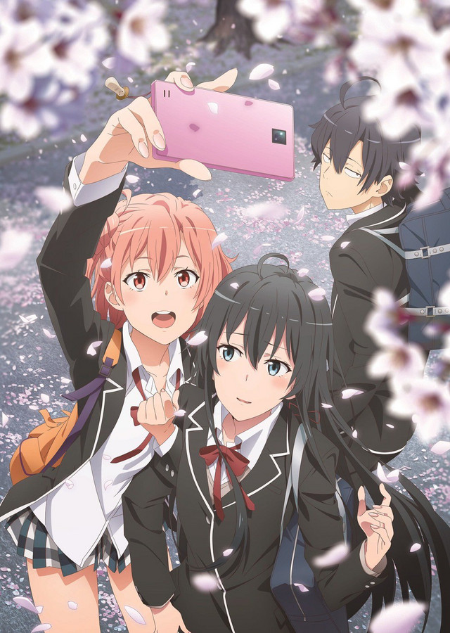 A new key visual for the third season of My Teen Romantic Comedy SNAFU, featuring the main characters Hachiman Hikigaya, Yukino Yukinoshita, and Yui Yuigahama taking a smart phone selfie while cherry blossoms bloom.