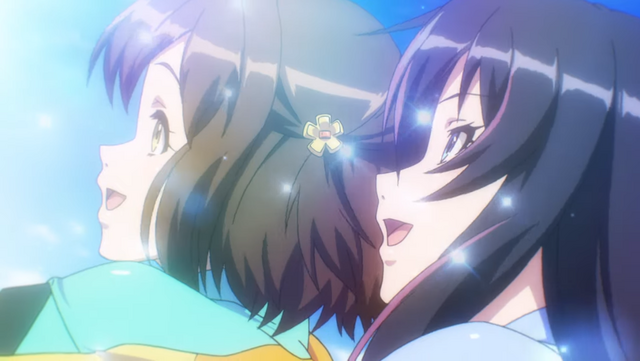 Rin Namiki and Misa Aoi enjoy a thrilling tandem jet ski race in a screencap from the latest trailer for the Kandagawa Jet Girls TV anime.