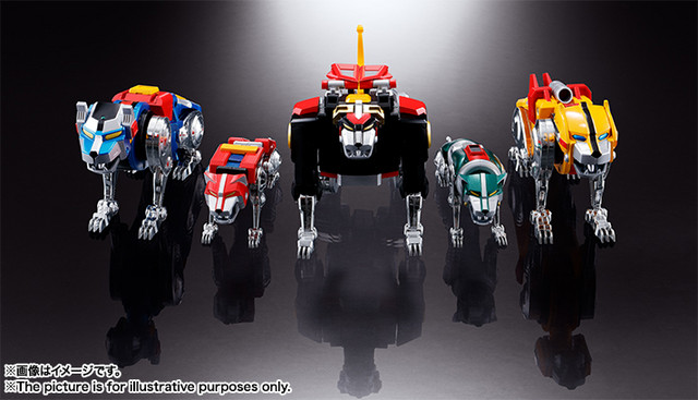 The five individual lion robots that make up the Voltron Force, on display for the Soul of Chogokin GX-71 Voltron toy.