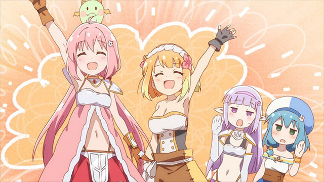 Yusha and Fai celebrate while Seira and Mei curb their enthusiasm in a scene from the ENDRO! TV anime.