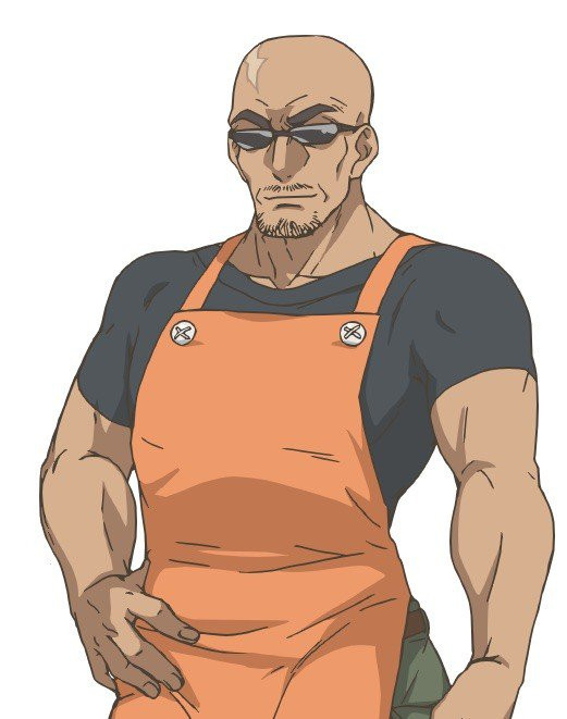 Takeru Kinjou, a tall, muscular, bald man with dark sunglasses and a prominent scar on his head, is a gentle board game shopkeeper despite his fierce appearance.